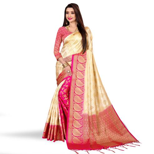 Imposing Cream-Rani Pink Colored Festive Wear Art Silk Saree