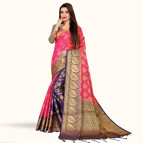 Majesty Pink-Violet Colored Festive Wear Art Silk Saree