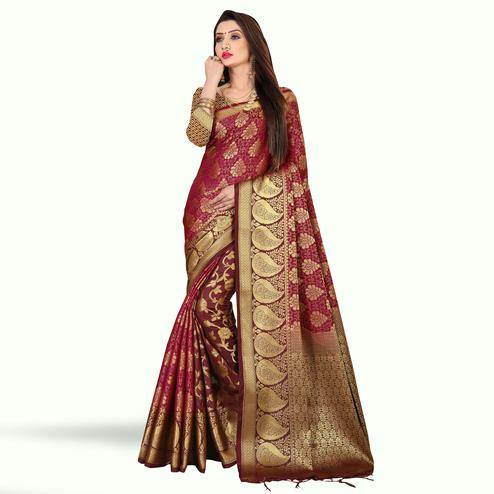 Marvellous Dark Wine-Brown Colored Festive Wear Art Silk Saree