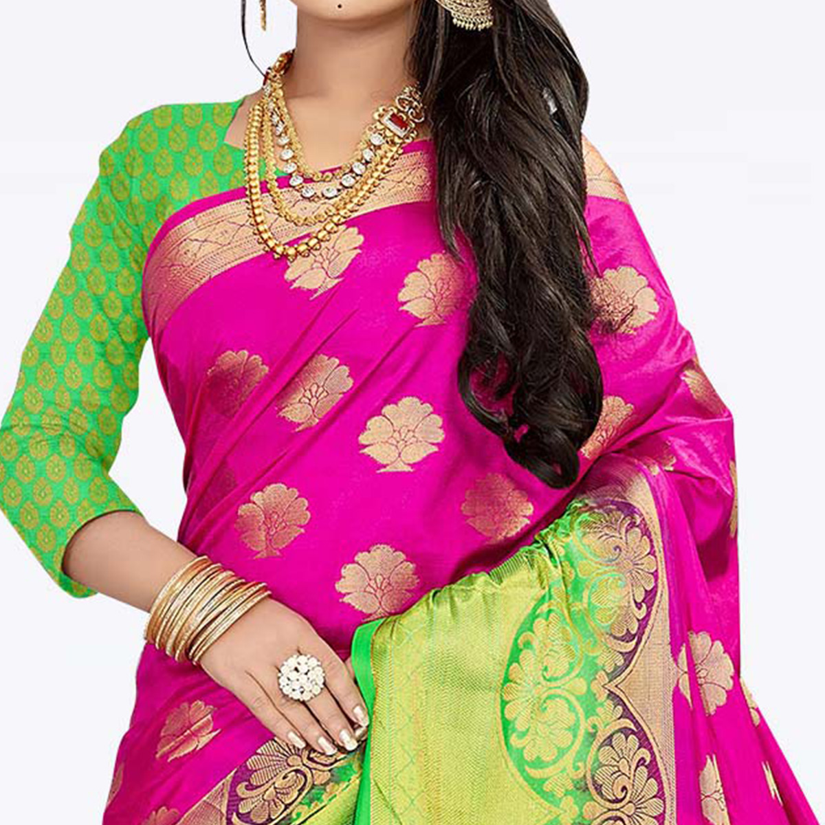Entrancing Dark Pink Colored Festive Wear Woven Art Silk Saree