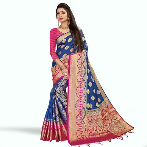 Groovy Navy Blue Colored Festive Wear Woven Art Silk Saree