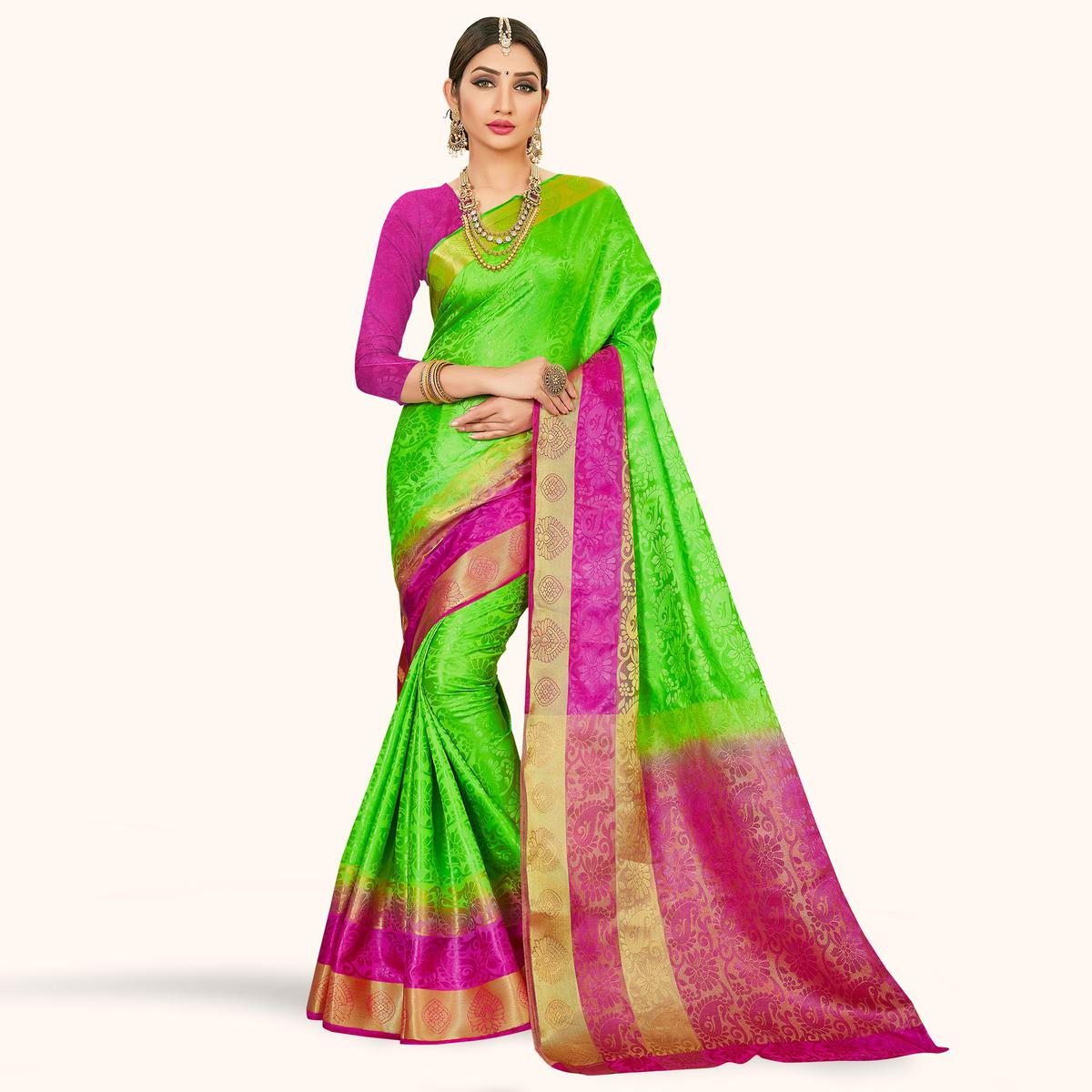 Arresting Green and Pink Colored Festive Wear Art Silk Saree