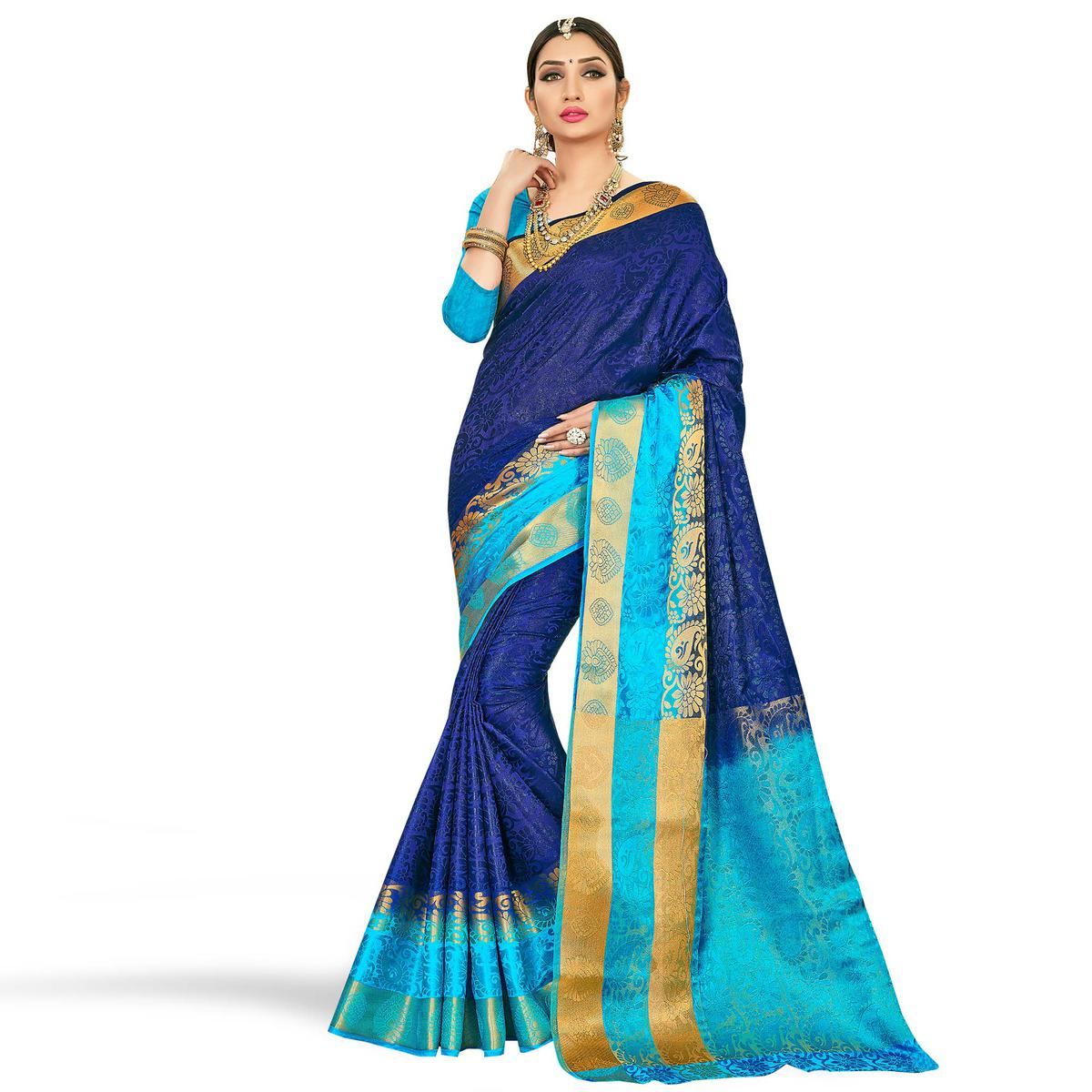 Desirable Blue Colored Festive Wear Art Silk Saree
