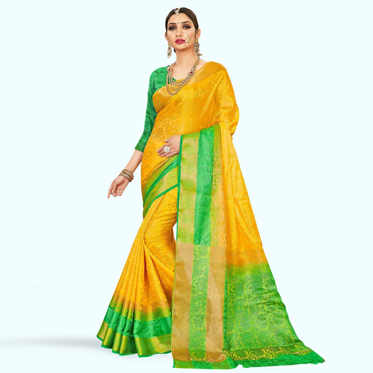 Trendy Yellow and Green Colored Festive Wear Art Silk Saree