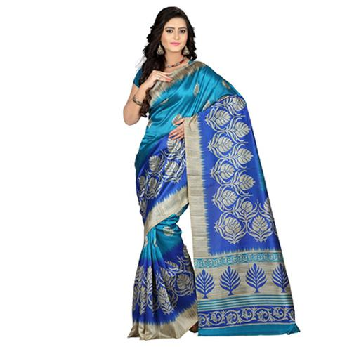 Blue Art Silk Printed Saree