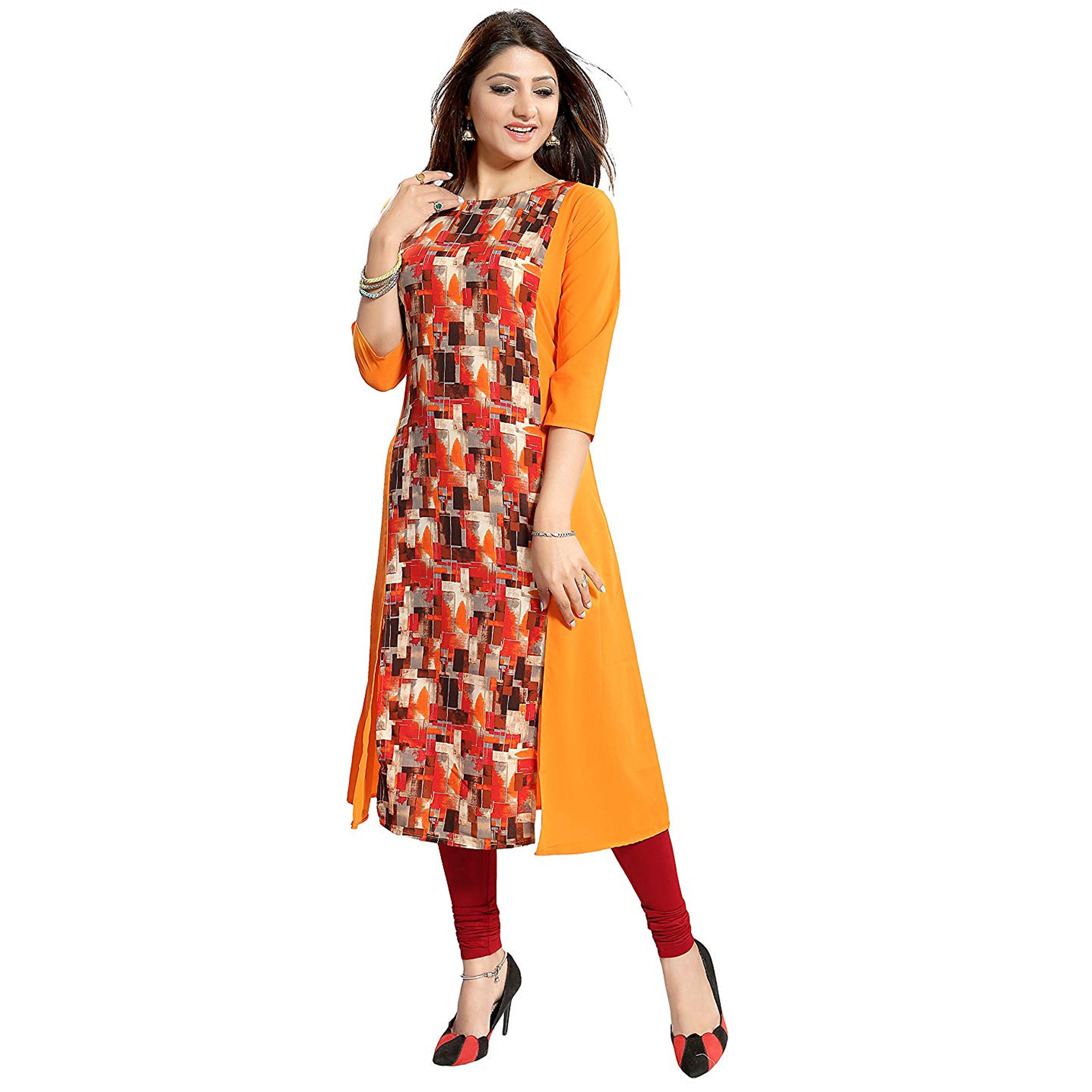 Eye-Catching Orange Colored Casual Printed Crepe Kurti