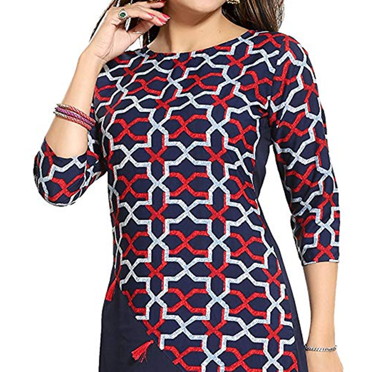 Impressive Blue Colored Casual Printed Crepe Kurti