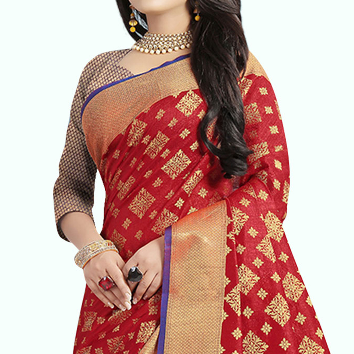 Magnetic Red Colored Festive Wear Woven Cotton Silk Saree