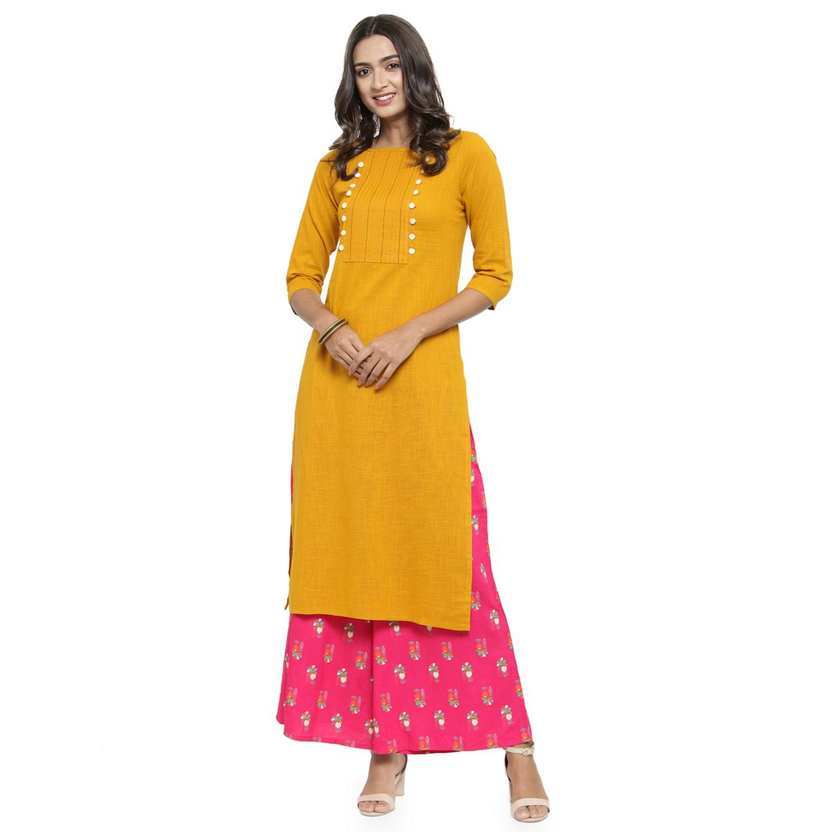 Delightful Yellow Colored Casual Wear Embroidered Cotton Kurti