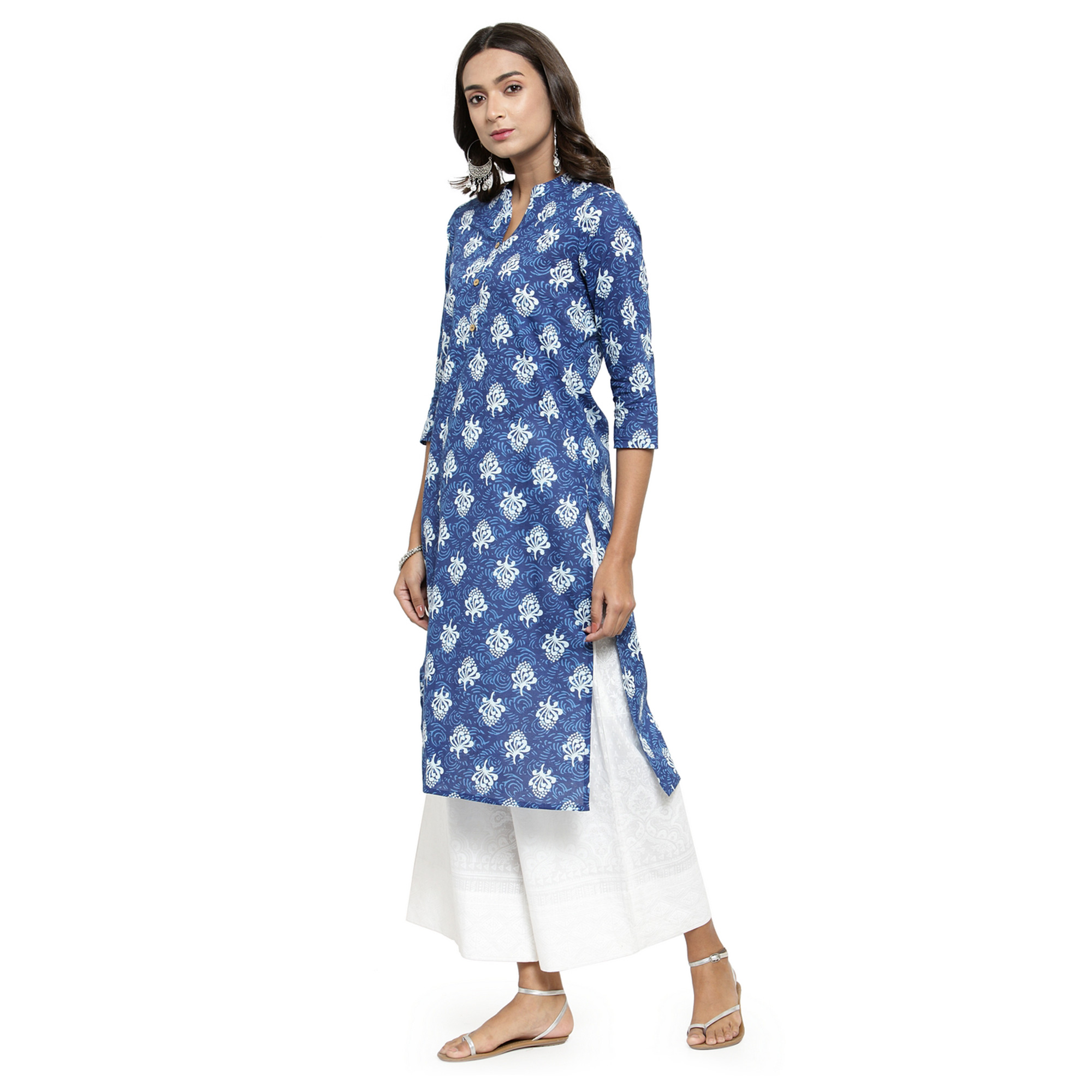 Engrossing Blue Colored Casual Wear Printed Cotton Kurti
