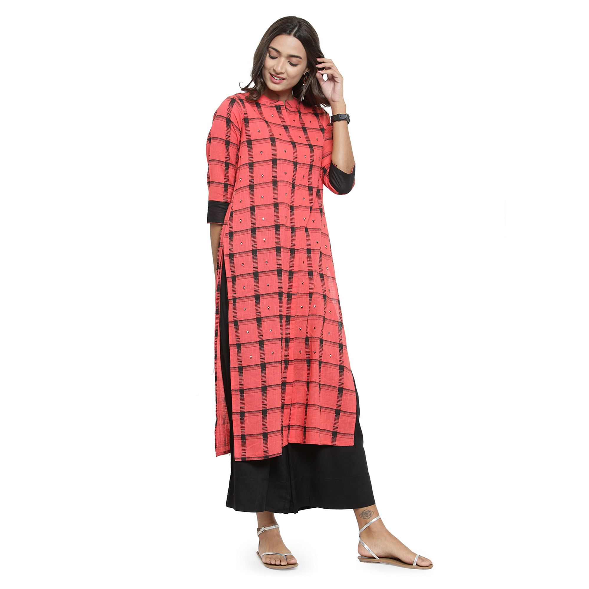 Captivating Dark Peach Colored Casual Wear Printed Cotton Kurti