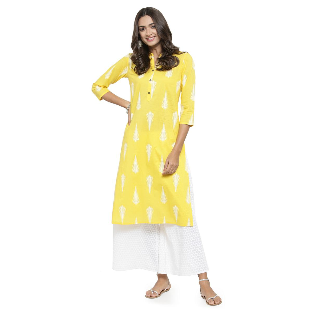 Innovative Yellow Colored Casual Wear Printed Cotton Kurti