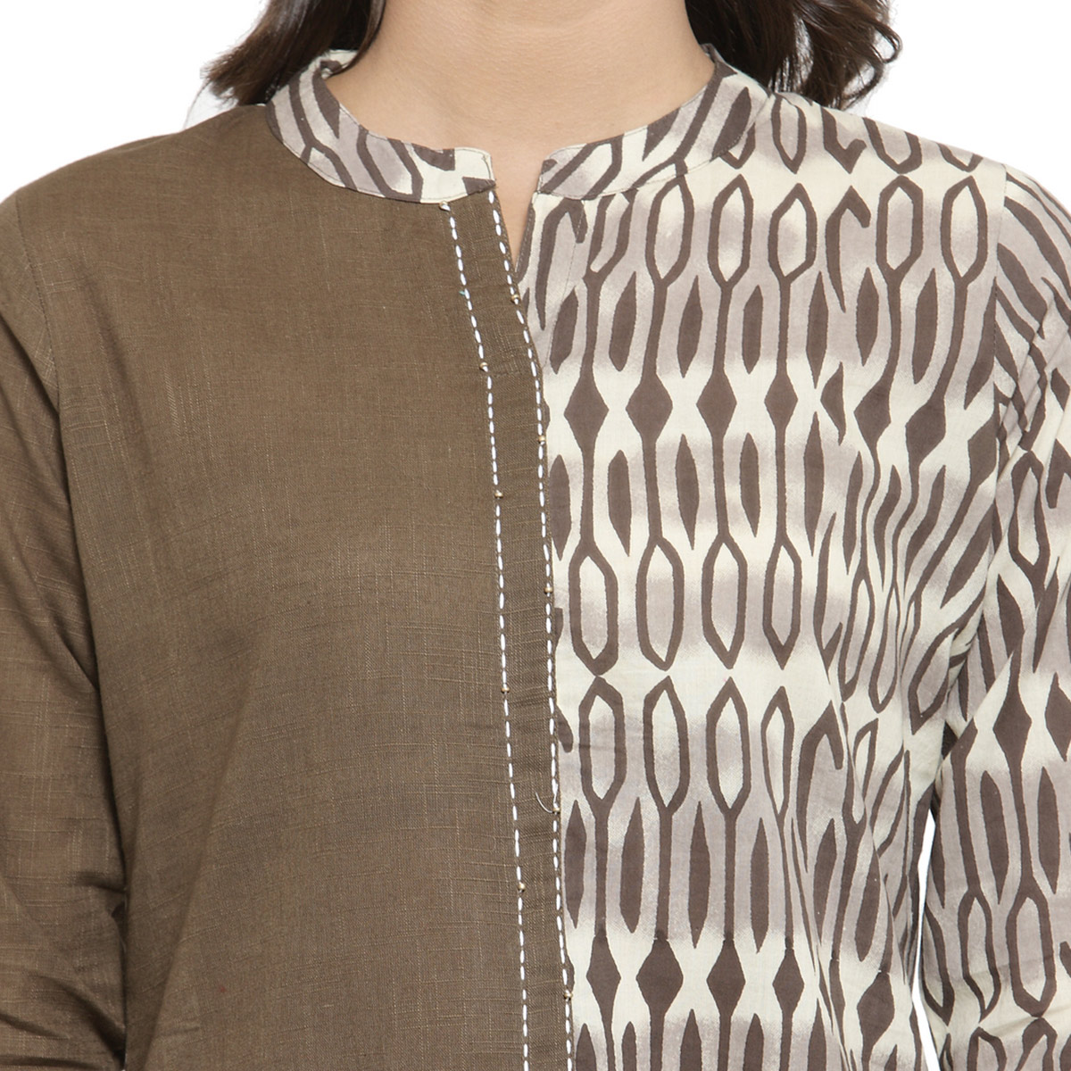 Eye-catching Brown Colored Casual Wear Printed Cotton Kurti
