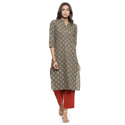 Fantastic Gray Colored Casual Wear Printed Cotton Kurti