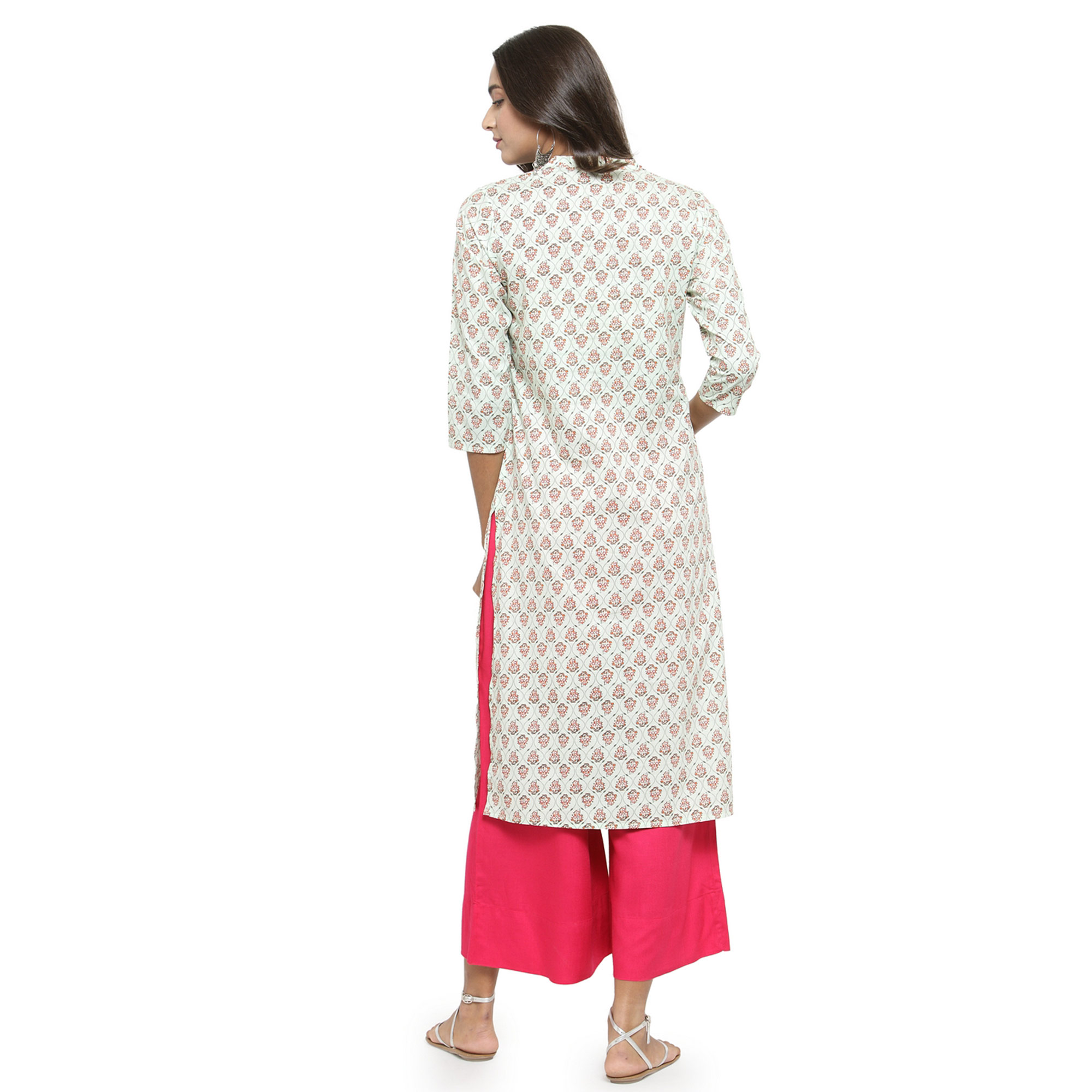 Blissful Off White Colored Casual Wear Printed Cotton Kurti