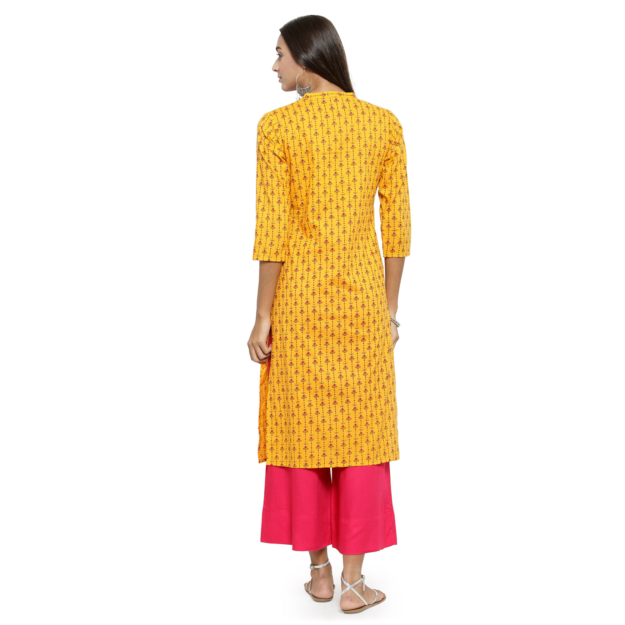 Ideal Yellow Colored Casual Wear Printed Cotton Kurti