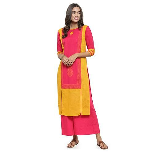 Majesty Yellow - Pink Colored Casual Wear Printed Cotton Kurti