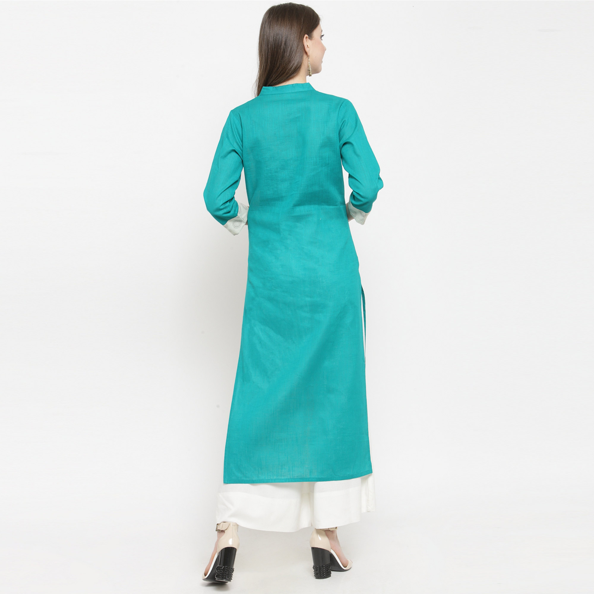 Impressive Turquoise Blue - Off White Colored Casual Wear Printed Rayon Kurti