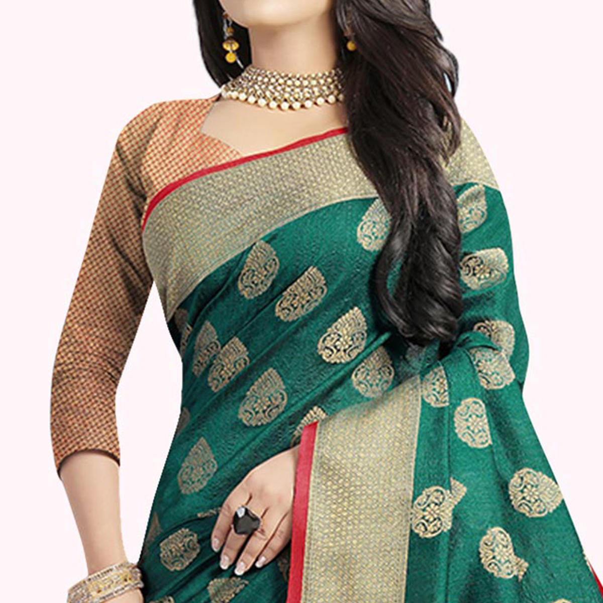 Hypnotic Turquoise Green Colored Festive Wear Woven Cotton Silk Saree