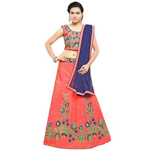 Orange Banglori Silk Floral Embroidered Lehenga