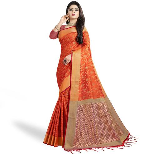 Flamboyant Dark Orange Colored Festive Wear Woven Cotton Silk Saree