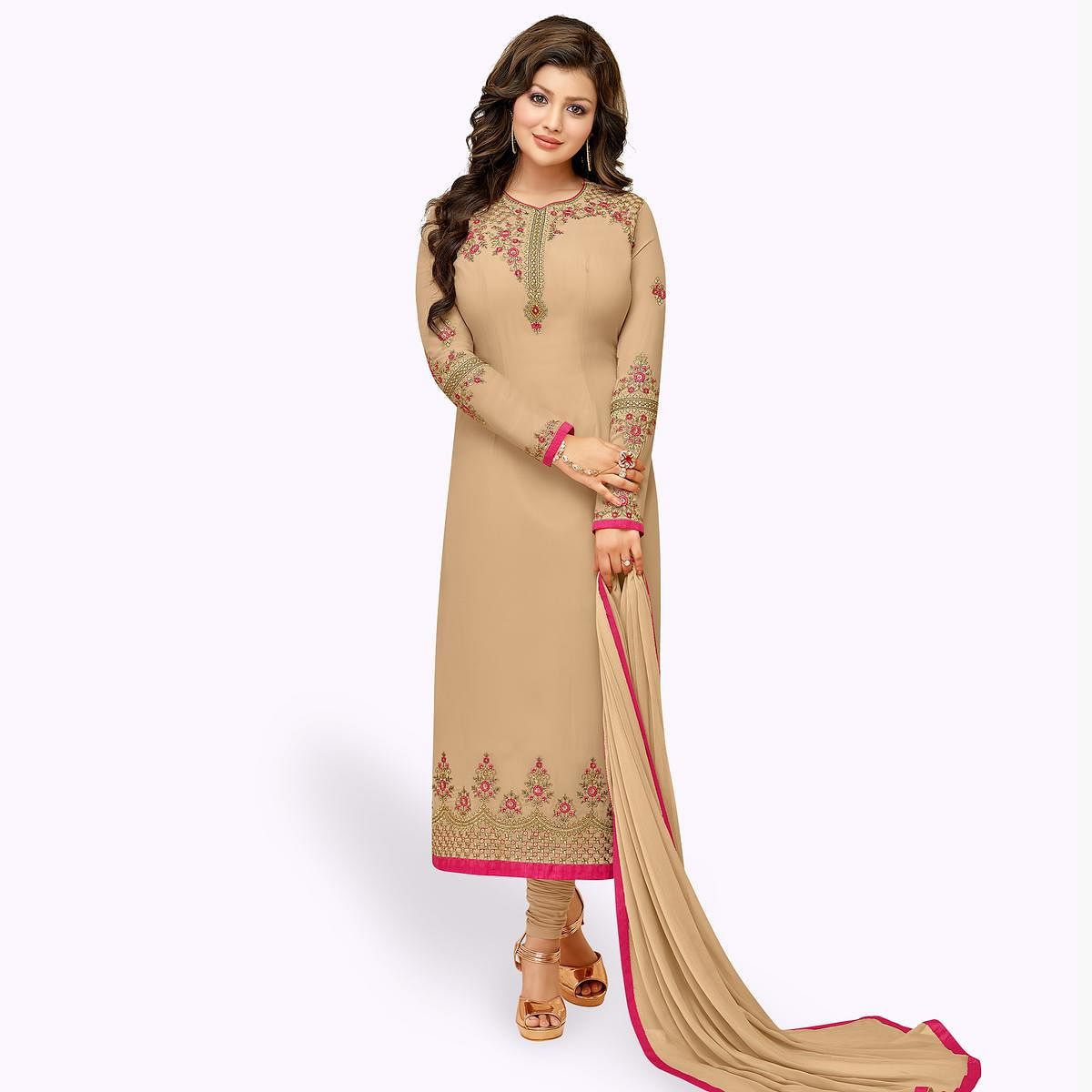 Blissful Beige Colored Partywear Embroidered Georgette Suit