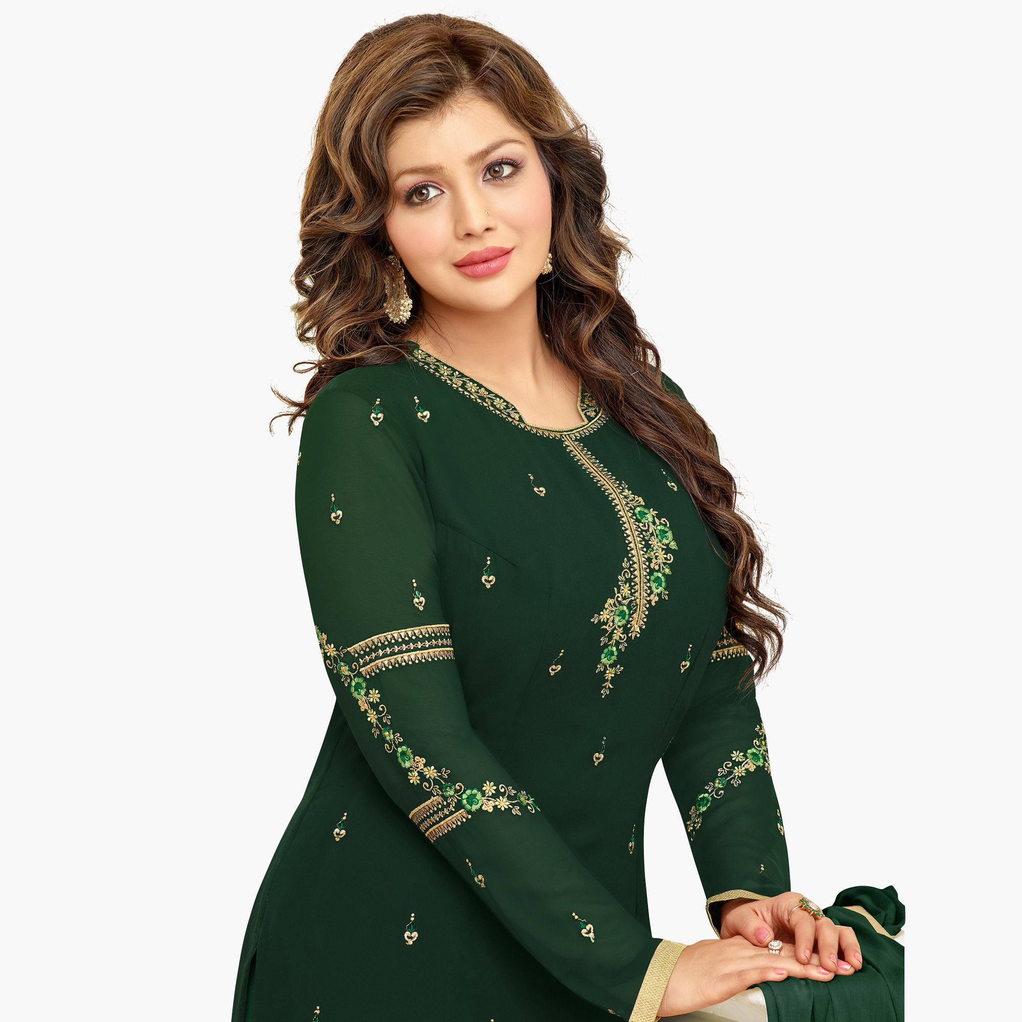 Ideal Dark Green Colored Partywear Embroidered Georgette Suit