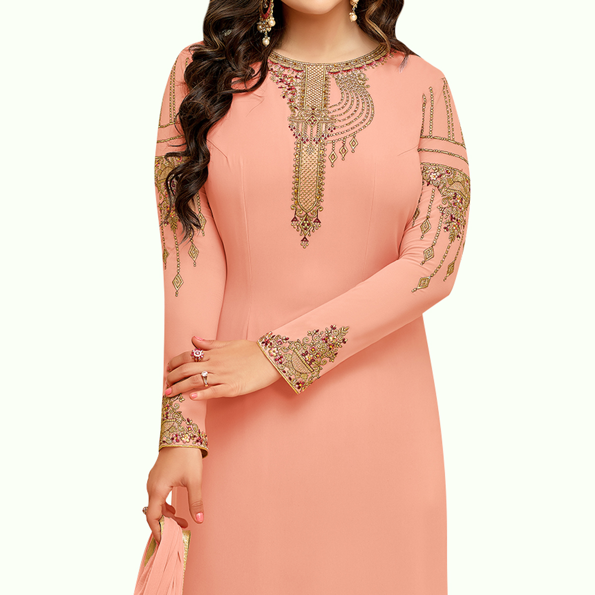 Imposing Peach Colored Partywear Embroidered Georgette Suit