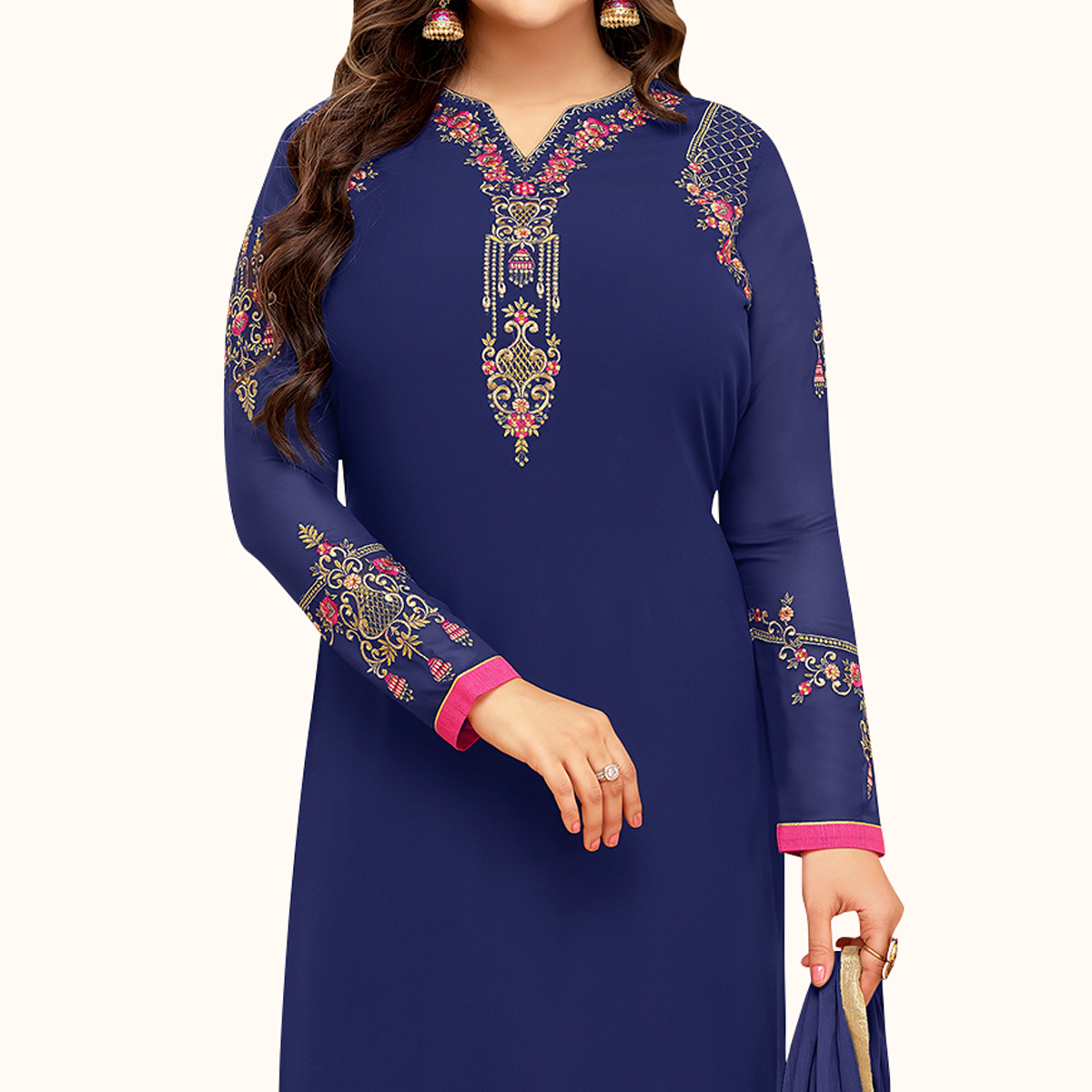 Lovely Blue Colored Partywear Embroidered Georgette Suit