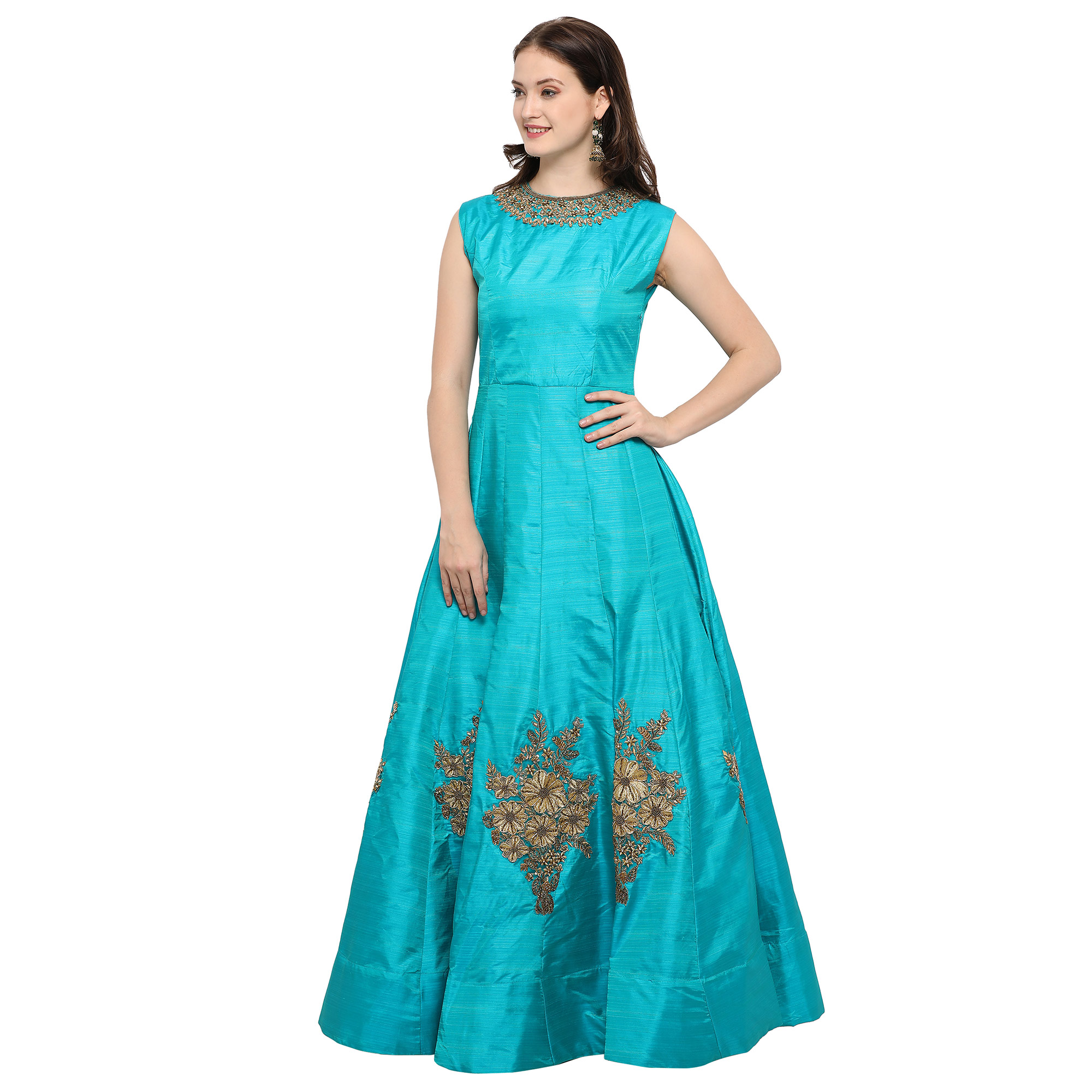 Adorable Blue Designer Hand Embroidered Mustani Silk Gown