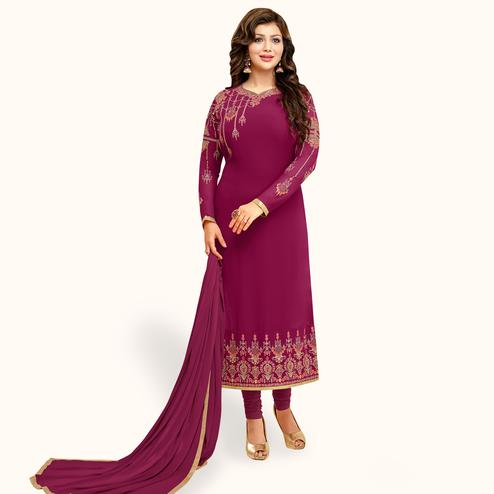 Majesty Deep Magenta Pink Colored Partywear Embroidered Georgette Suit