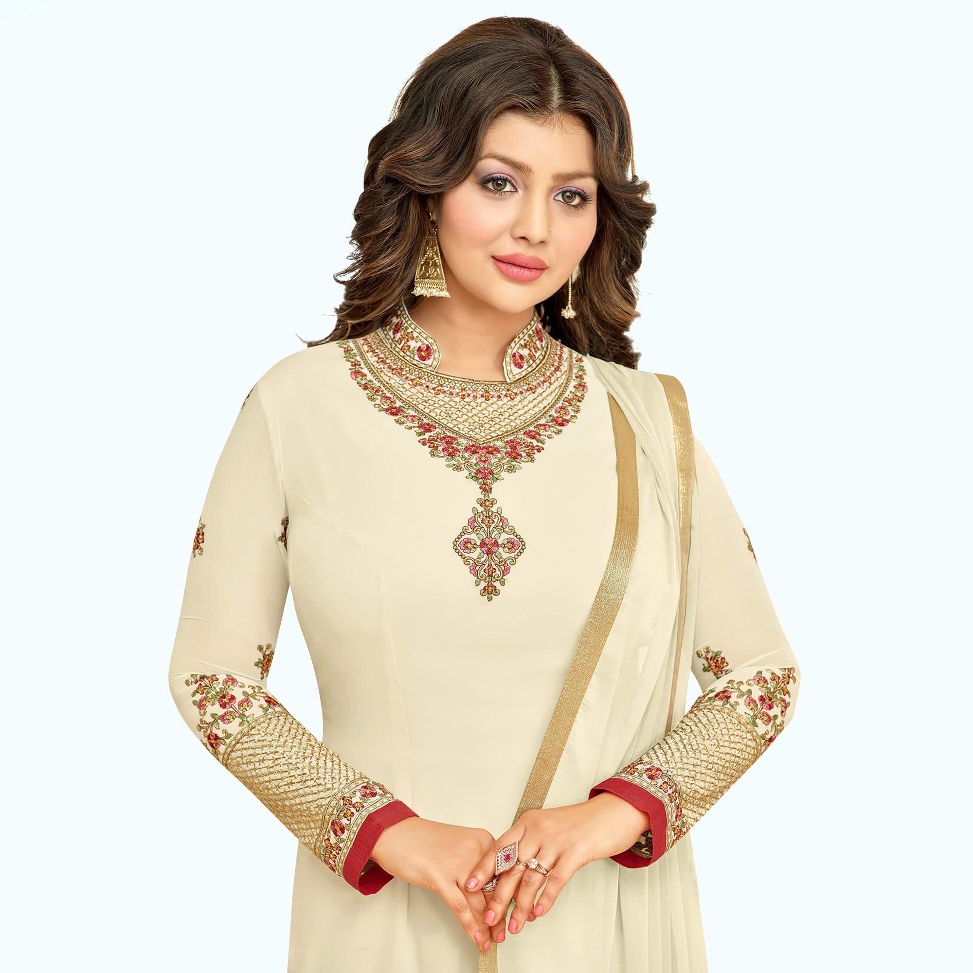 Impressive Cream Colored Partywear Embroidered Georgette Suit