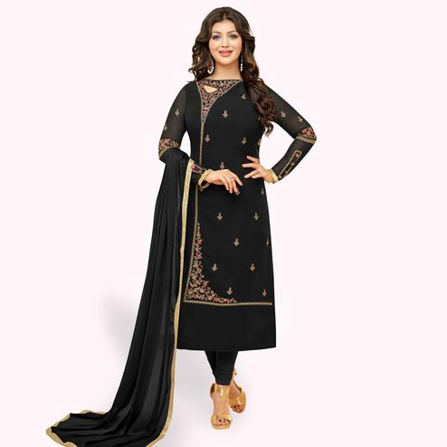 Mesmerising Black Colored Partywear Embroidered Georgette Suit