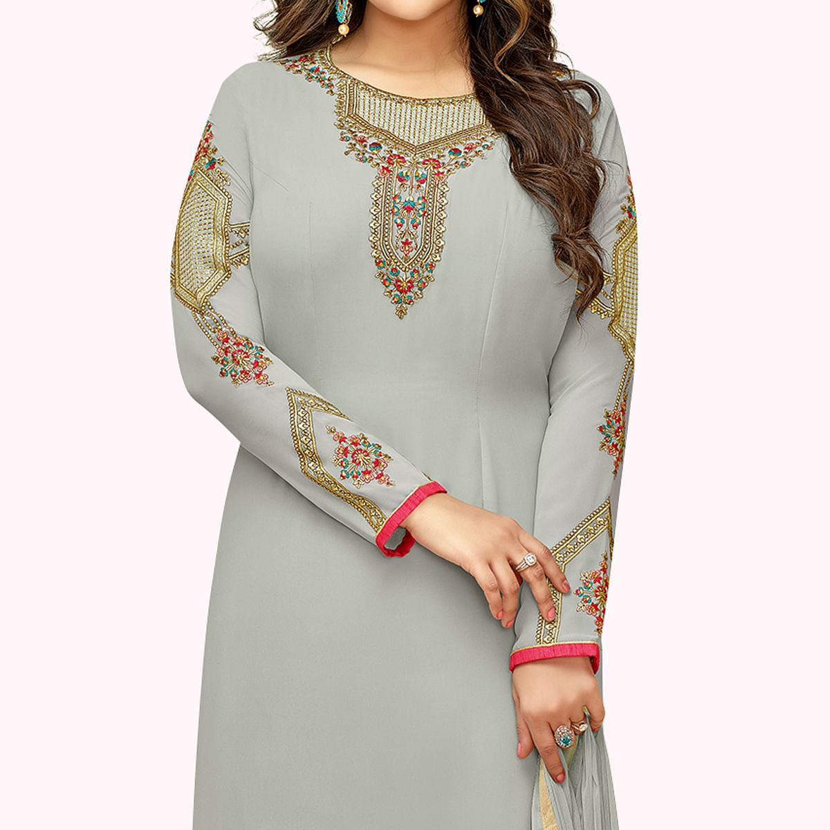 Pleasance Gray Colored Partywear Embroidered Georgette Suit