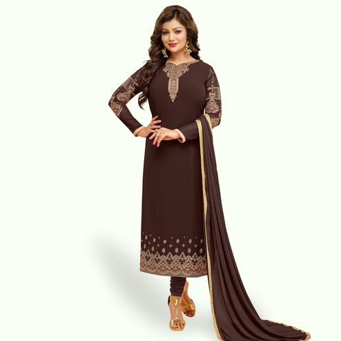 Breathtaking Brown Colored Partywear Embroidered Georgette Suit