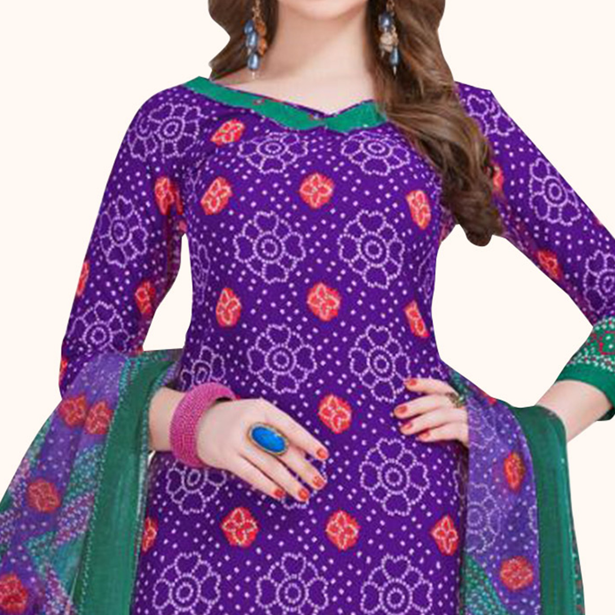 Ideal Purple Colored Casual Printed Crepe Dress Material