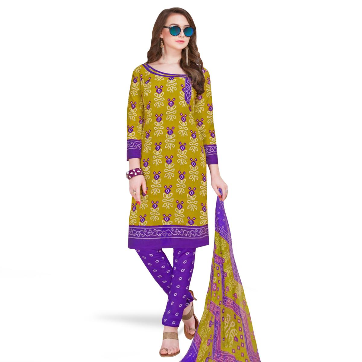 Lovely Mehendi Green Colored Casual Printed Crepe Dress Material