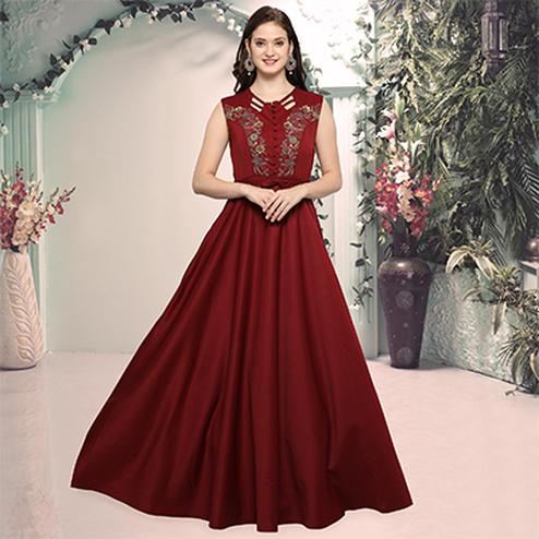 Lovely Maroon Designer Hand Embroidered Gown