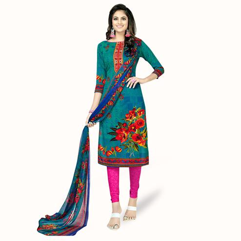 Arresting Rama Green Colored Casual Printed Crepe Dress Material
