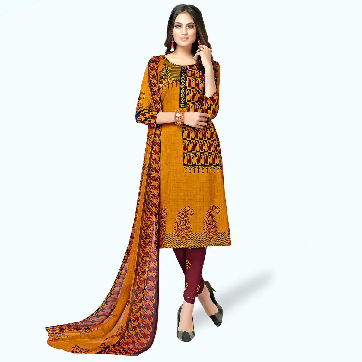 Desirable Burnt Orange Colored Casual Printed Crepe Dress Material