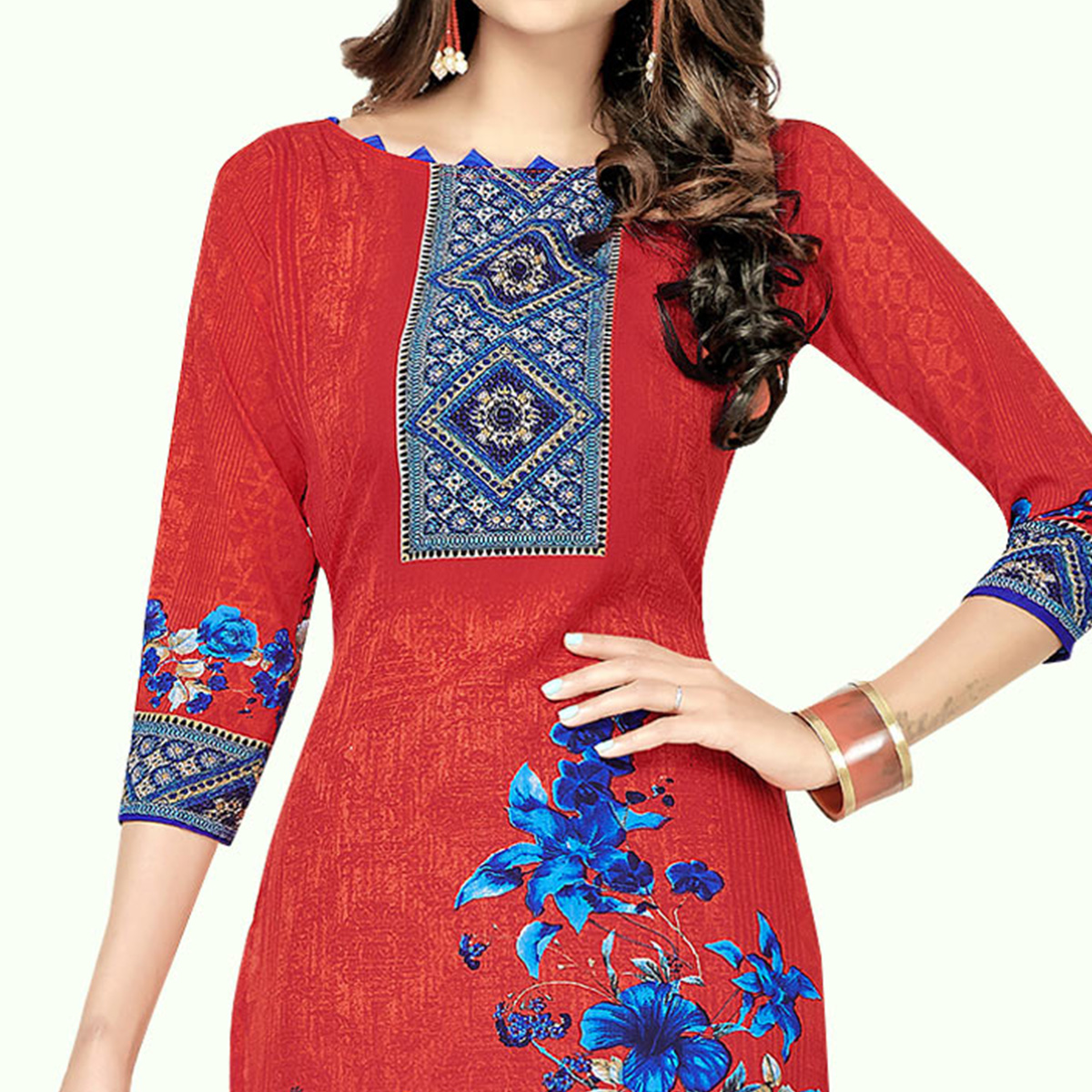 Exotic Red Colored Casual Printed Crepe Dress Material