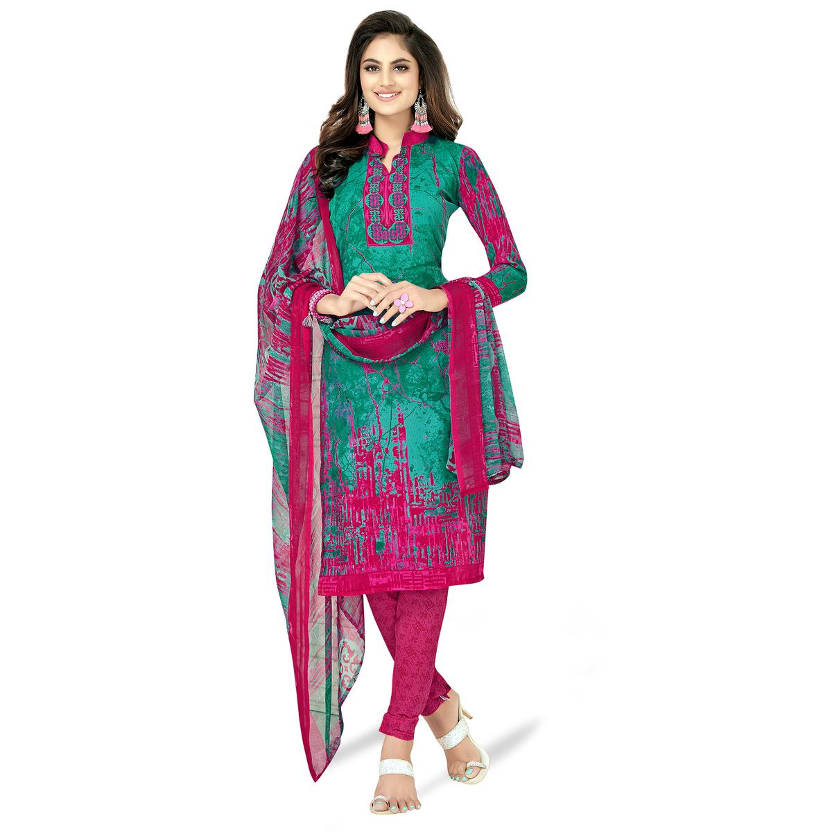 Sophisticated Green-Pink Colored Casual Printed Crepe Dress Material