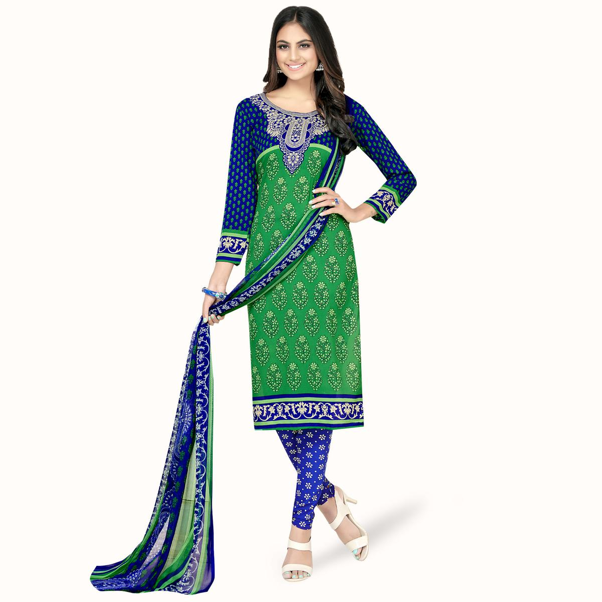 Pleasant Green-Blue Colored Casual Printed Crepe Dress Material