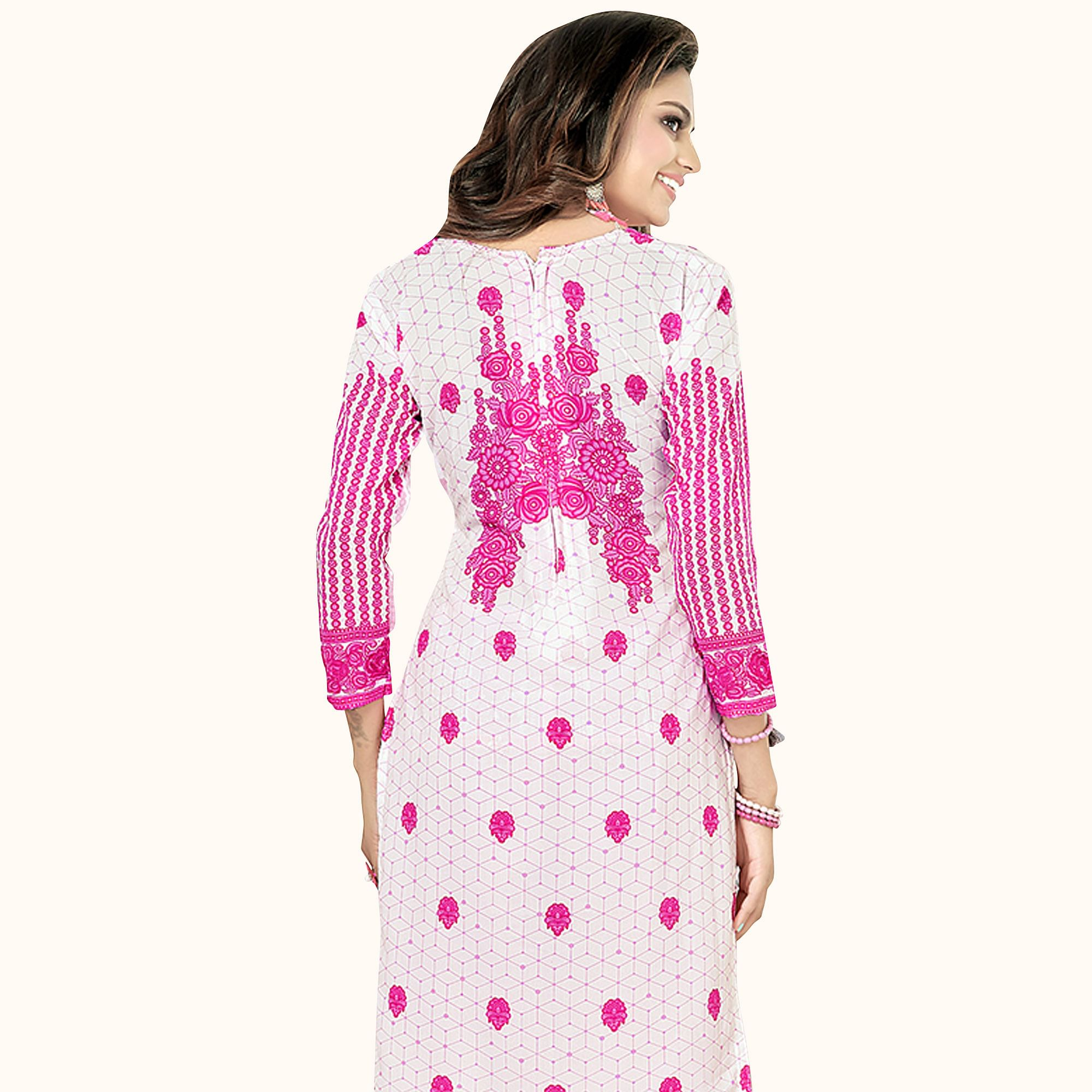 Energetic White Colored Casual Printed Crepe Dress Material