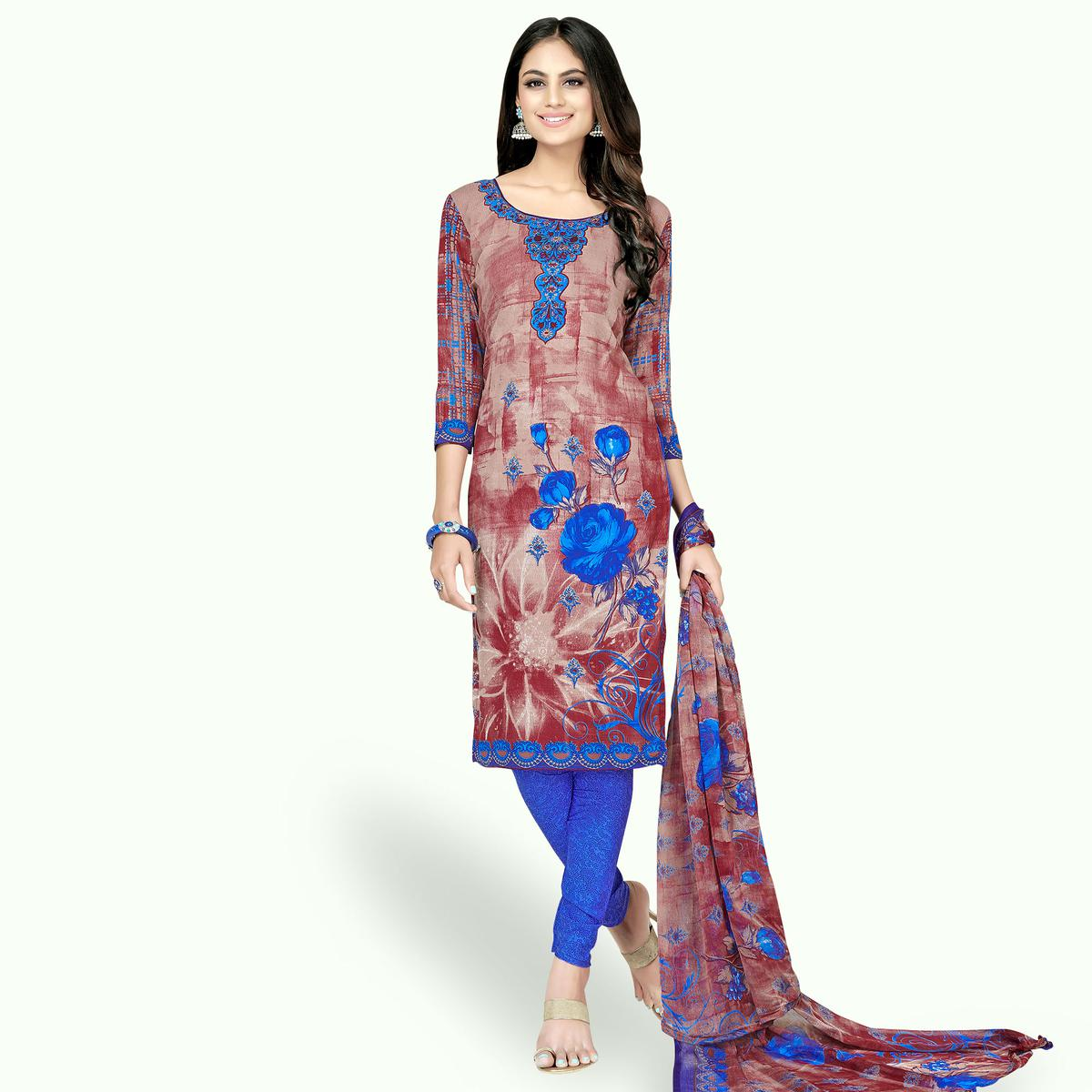 Exceptional Brown-Blue Colored Casual Printed Crepe Dress Material