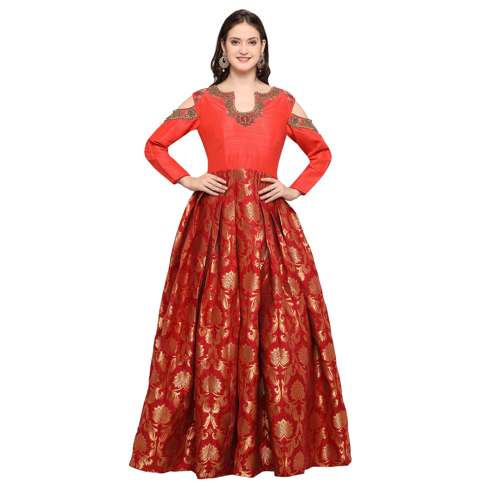 Charasmatic Red Designer Hand Embroidered Raw Silk & Jacquard Silk Gown