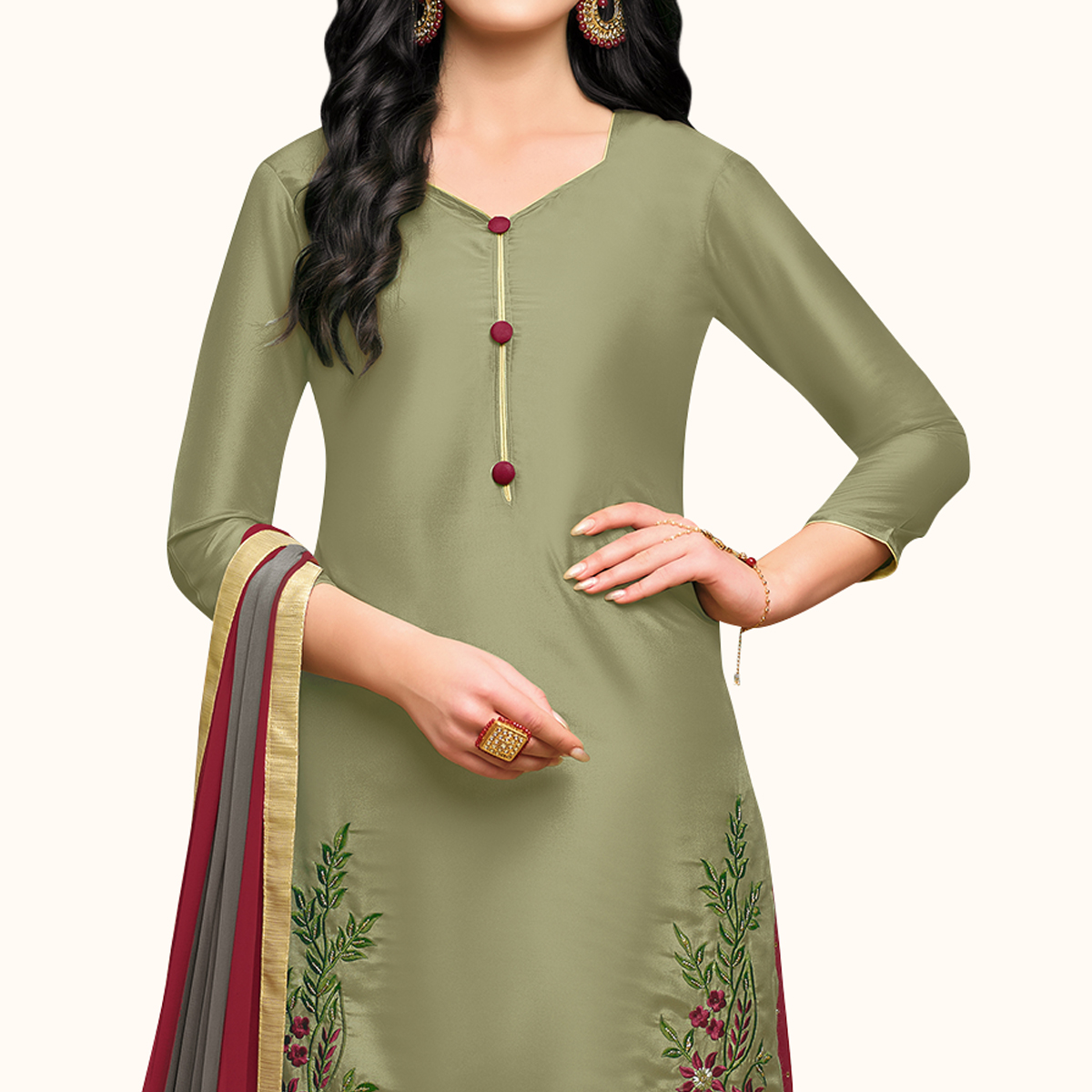 Flattering Light Olive Green Colored Partywear Embroidered Silk Palazzo Suit