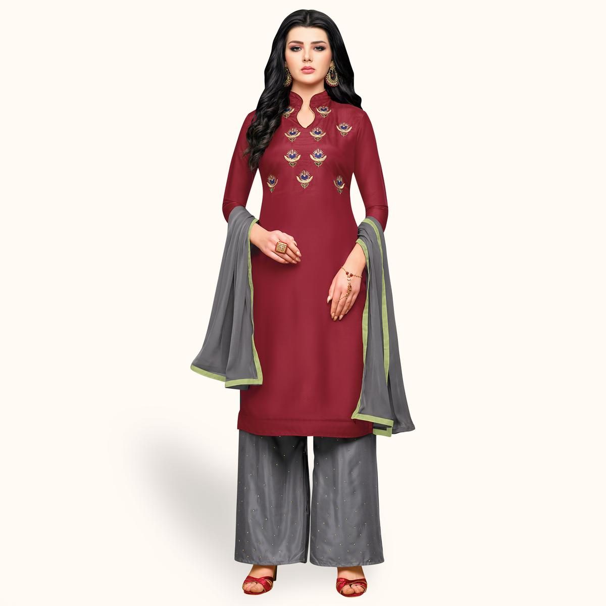Excellent Maroon Colored Partywear Embroidered Silk Palazzo Suit