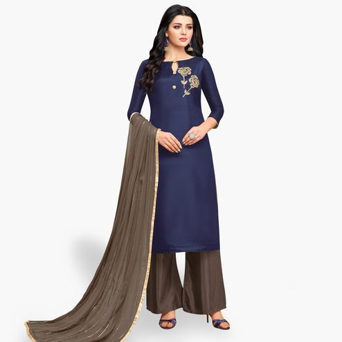 Preferable Navy Blue Colored Partywear Embroidered Silk Palazzo Suit