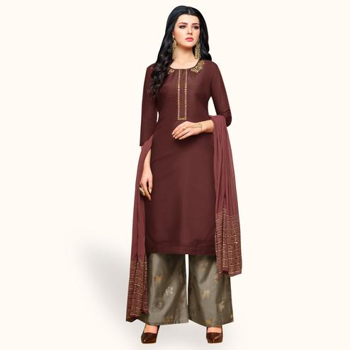 Marvellous Brown Colored Partywear Embroidered Silk Palazzo Suit